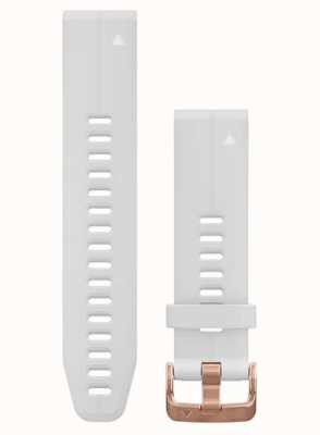Garmin QuickFit 20 Watch Strap Only, Carrara White Silicone With Rose Gold-tone Hardware 010-12739-08