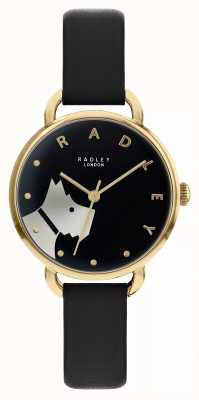 Radley Wood Street | Black Leather Strap | Black Dial Dog Motif | RY2876