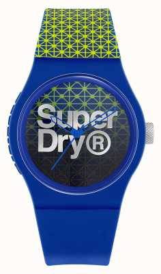 Superdry Urban Geo Sport | Blue/Green Silicone Strap |Blue/Green Dial SYG268UN