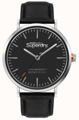 Superdry Oxford | Black Leather Strap | Black Dial | SYG287B