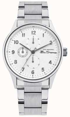 Ben Sherman Men's Stainless Steel Silver Bracelet | White Multi Dial | BS021SM
