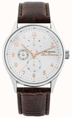 Ben Sherman Men's Brown Leather Strap | White Multi Dial | BS021BR
