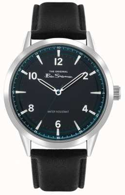 Ben Sherman Men's Black Leather Strap | Teal Sunray Dial | BS023B