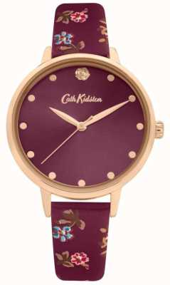Cath Kidston Women's Mulberry Floral Print Leather Strap | Plum Dial | CKL089R