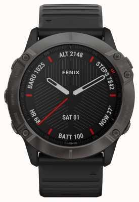 Garmin Fenix 6X Pro Sapphire | Carbon Grey DLC | Black Rubber Strap 010-02157-11