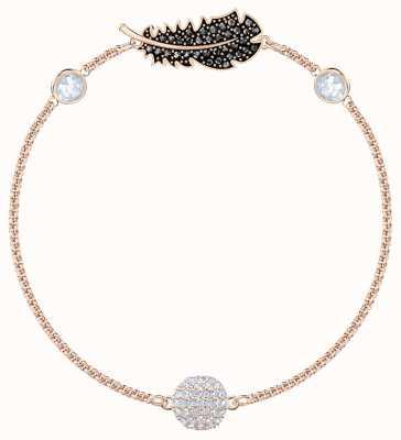 Swarovski Remix   Rose-Gold Plated   Black   Feather  Bracelet 5495340