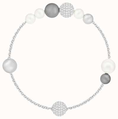 Swarovski Remix | Rhodium Plated | Grey | Pearl Strand | L |Bracelet 5421436