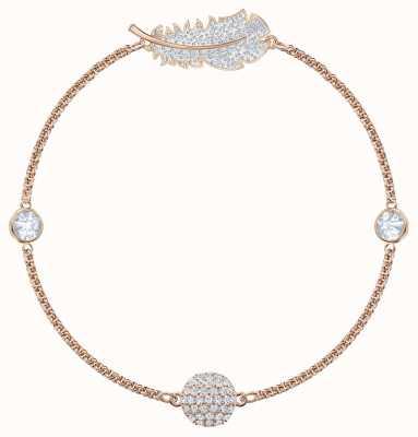 Swarovski Remix  Rose-Gold Plated  White  Feather   Bracelet   L   5511103