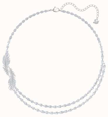 Swarovski Nice | Feather Charm Necklace | Rhodium Plated | White 5493404