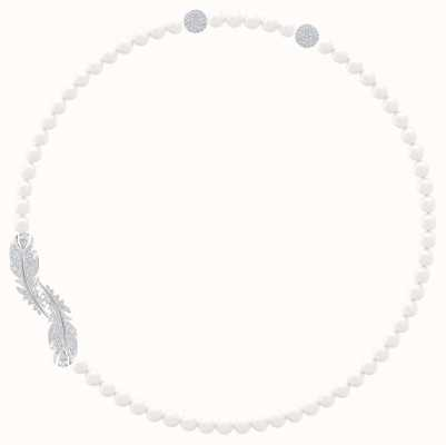 Swarovski Nice | Rhodium Plated | Feather Pendant | White Stones | 5493403