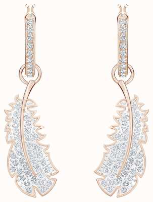 Swarovski Naughty |Rose-Gold plated | White |Feather |Hoop Earrings 5497872
