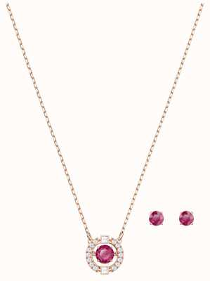 Swarovski Sparkling | Dance Round Necklace Set | Red | Stud Earrings 5480494