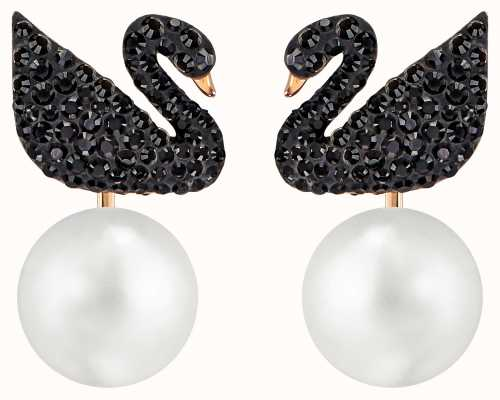 Swarovski | Iconic | Swan Pierced Pearl Earrings | Black | Rose Plated 5193949