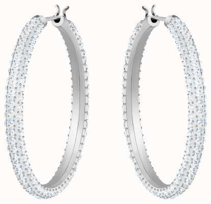Swarovski Stone | Rhodium Plated Hoop Pierced Earrings | White Stones 5389432