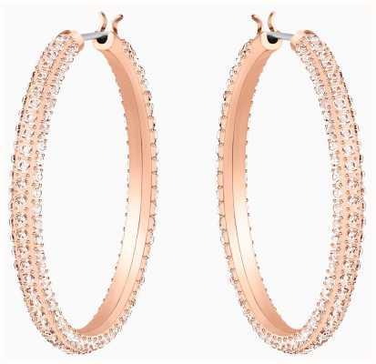 Swarovski Stone | Rose Gold Hoop Pierced Earrings | Rose Gold Plated | 5383938