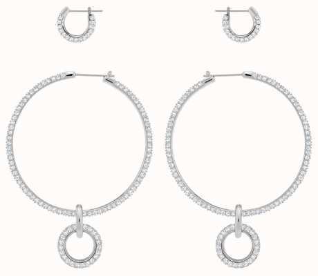 Swarovski Stone | Pierced Hoop Earring Set | Rhodium Plated | White 5437971
