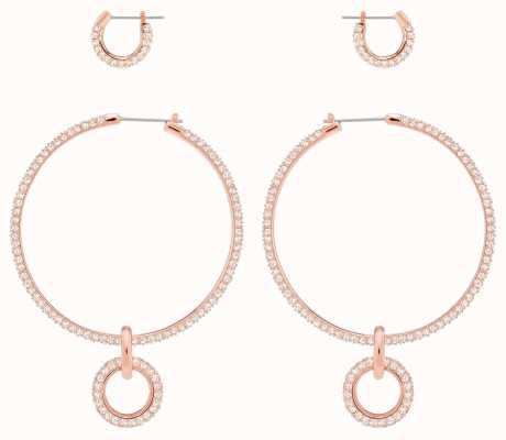 Swarovski Stone | Pierced Hoop Earring Set | Rose Gold Plated | White 5426004