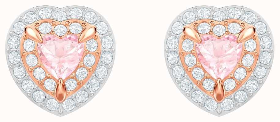 Swarovski One | Pierced Stud Earrings | Rose Gold Plated | White 5446995