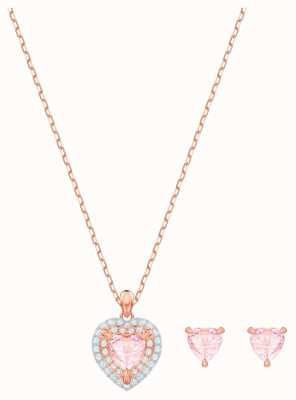 Swarovski One | Rose Gold Plated Pierced Stud And Necklace Set |White 5470897