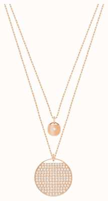 Swarovski Ginger | Rose Gold Layer Pendant Necklace | White Stones 5253286