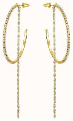 Swarovski Fit | Large Pierced Hoop Earrings | Gold Plated | White 5504573