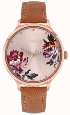 Joules | Women's Tillbury | Tan Leather Strap | Floral Dial | JSL021TRG