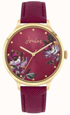 Joules | Women's Tillbury | Berry Leather Strap | Floral Dial | JSL021RG