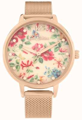 Cath Kidston Pembroke Rose | Rose Gold Mesh Bracelet | Floral Dial | CKL085RGM
