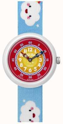 Flik Flak | Cloudbow | Blue Print Fabric Strap | Red/Yellow Dial | FBNP115