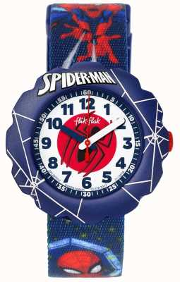 Flik Flak | Spider-man In Action | Blue Fabric Print Strap | FLSP012