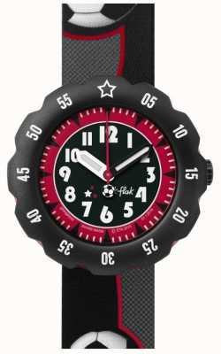 Flik Flak | Soccer Star | Black/Grey Print Fabric Strap | Black Dial | FPSP010