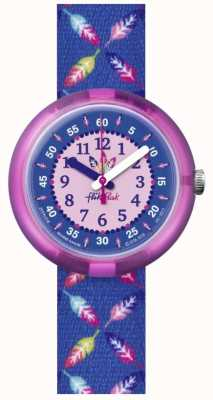 Flik Flak | Cool Feather | Blue Feather Print Fabric Strap | Blue Dial FPNP016