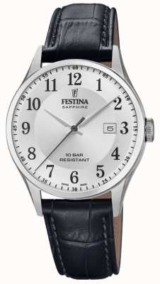 Festina | Men's Swiss Made | Black Leather Strap | Silver Dial | F20007/1
