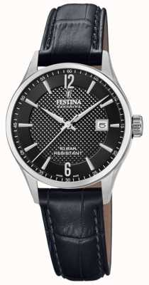 Festina | Women's Swiss Made | Black Leather Strap | Black Dial | F20009/4