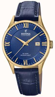 Festina | Men's Swiss Made | Gold Plated Case | Blue Leather | F20010/3