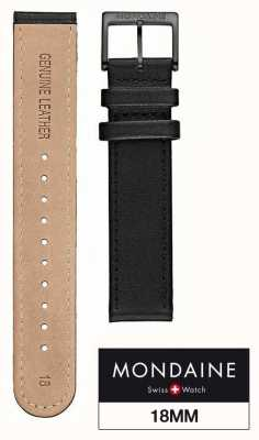 Mondaine Black Leather Strap Only | Stitching & IP Buckle| Width 18MM FE3118.20IPB