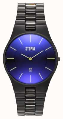 STORM Slim-X XL Slate Blue | Black IP Bracelet | Blue Dial | 47159/SL/B