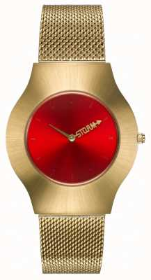 STORM | New Ion Mesh Gold Red | Gold Mesh Bracelet | Red Dial | 47453/GD