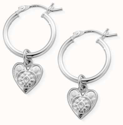 ChloBo | Women's Patterned Heart Hoops | Sterling Silver SEH691