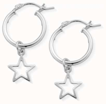 ChloBo | Women's Open Star Hoop Earrings | Sterling Silver | SEH097