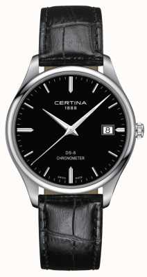 Certina DS-8 Chronometer | Black Leather Strap | Black Dial | C0334511605100