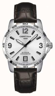 Certina DS Podium 40mm | Brown Leather Strap | Silver Dial | C0344511603700