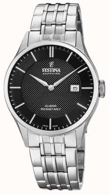 Festina | Men's Swiss Made | Stainless Steel Bracelet | Black Dial F20005/4