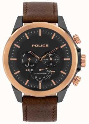 Police | Men's Belmont | Brown Leather Strap | Black Dial | 15970JSUR/02