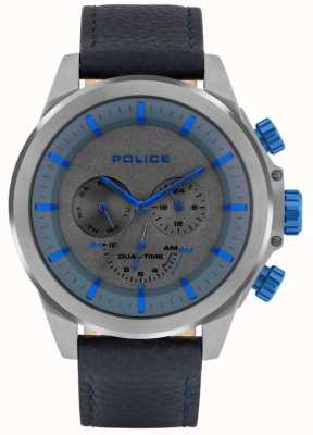 Police | Men's Belmont | Blue Leather Strap | Blue/Grey Dial | 15970JSU/61