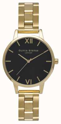 Olivia Burton Womens | Midi | Black Dial | Gold PVD Bracelet OB15BL26