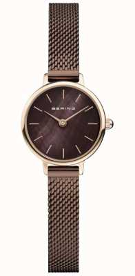 Bering | Women's Classic | Brown Mesh Bracelet | Mother Of Pearl 11022-265
