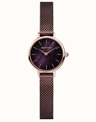 Bering | Women's Classic | Brown Mesh Bracelet | Mother Of Pearl 11022-265