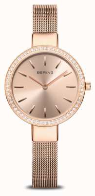 Bering | Women's Classic | Rose Gold Mesh | Crystal Set Bezel 16831-366