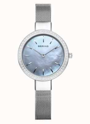 Bering | Women's Classic | Silver Mesh Bracelet | Crystal Set Bezel 16831-004